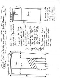 Esquema de modelagem da saia lápis com pregas na frente 46.