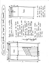 Esquema de modelagem da saia lápis com pregas na frente 56.