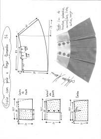 Esquema de modelagem de saia com pala e pregas fêmea tamanho 56.