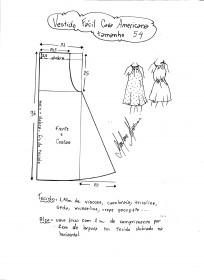 Esquema de modelagem de vestido fácil com cava americana tamanho 54.