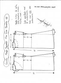 Esquema de modelagem de vestido com manga japonesa p-lus size tamanho 48.