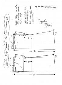 Esquema de modelagem de vestido com manga japonesa p-lus size tamanho 52.