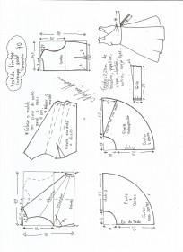 Esquema de modelagem de vestido vintage envelope tamanho 40.