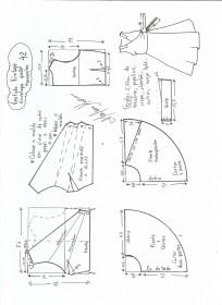 Esquema de modelagem de vestido vintage envelope tamanho 42.