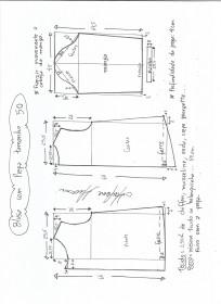Esquema de modelagem de blusa com prega e manga tamanho 50.