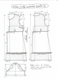 Esquema de modelagem de vestido vintage com babado tamanho 42.