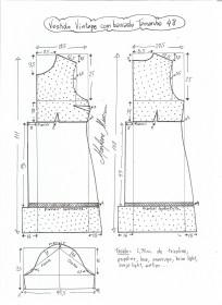 Esquema de modelagem de vestido vintage com babado tamanho 48.