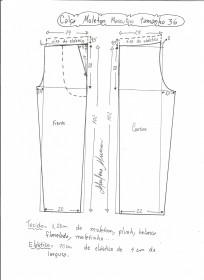 Esquema de modelagem de calça de moletom masculina tamanho 36.
