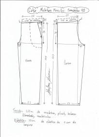 Esquema de modelagem de calça de moletom masculina tamanho 40.