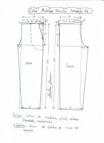 Esquema de modelagem de calça de moletom masculina tamanho 46.