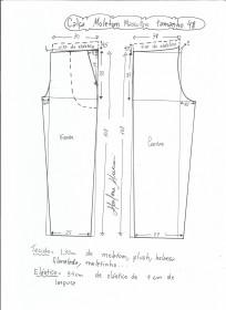 Esquema de modelagem de calça de moletom masculina tamanho 48.