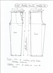 Esquema de modelagem de calça de moletom masculina tamanho 56.