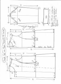 Esquema de modelagem de trench coat tamanho PP.