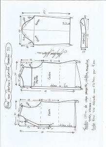 Esquema de modelagem de blusa com abertura e meio colarinho tamanho 50.
