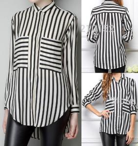 Camisa soltinha, sem pences, ideal para tecidos leves com esquema de modelagem do 36 ao 56.