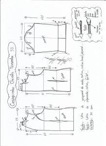Esquema de modelagem de casaquinho chinês tamanho 50.