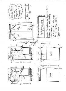 Esquema de modelagem de vestido tubinho com aba pregueada e detalhe em renda tamanho 54.