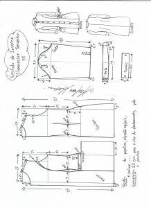 Esquema de modelagem de vestido inverno chamesier tamanho 38.