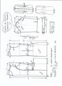 Esquema de modelagem de vestido inverno chamesier tamanho 42.