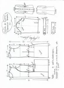 Esquema de modelagem de vestido inverno chamesier tamanho 50.
