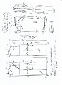 Esquema de modelagem de vestido inverno chamesier tamanho 54.