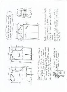 Esquema de modelagem de vestido de inverno com recorte abaixo do busto tamanho 46.