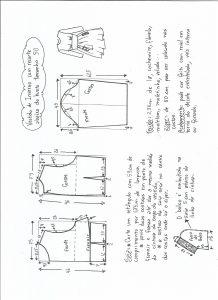 Esquema de modelagem de vestido de inverno com recorte abaixo do busto tamanho 50.