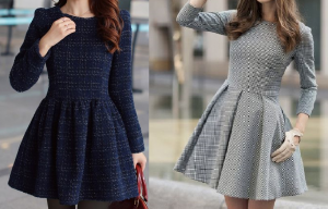 Vestido de inverno com saia rodada com esquema de modelagem do 36 ao 56.