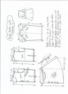 Esquema de modelagem de vestido de inverno com saia rodada tamanho 46.