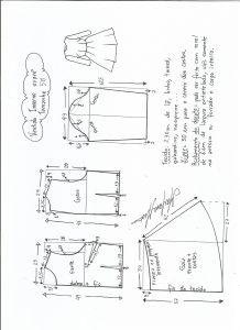 Esquema de modelagem de vestido de inverno com saia rodada tamanho 50.