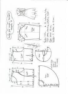 Esquema de modelagem de vestido gola ampla tamanho 38.