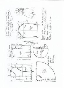 Esquema de modelagem de vestido gola ampla tamanho 46.