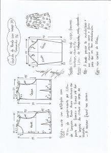 Esquema de modelagem de vestido meia estação de renda e manga 3/4 tamanho 36.