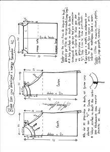 Esquema de modelagem de blusa com cava americana e manga tamanho 42.