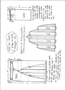 Esquema de modelagem de saia com recorte vertical e pregas tamanho 40.
