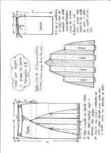 Esquema de modelagem de saia com recorte vertical e pregas tamanho 48.