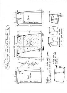 Esquema de modelagem de saia envelope assimétrica tamanho 42.