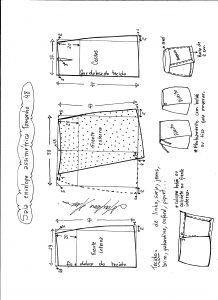 Esquema de modelagem de saia envelope assimétrica tamanho 48.