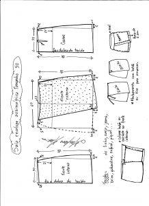 Esquema de modelagem de saia envelope assimétrica tamanho 50.
