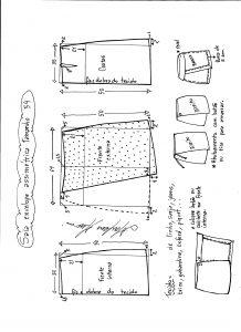 Esquema de modelagem de saia envelope assimétrica tamanho 54.