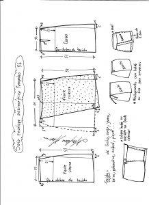 Esquema de modelagem de saia envelope assimétrica tamanho 56.