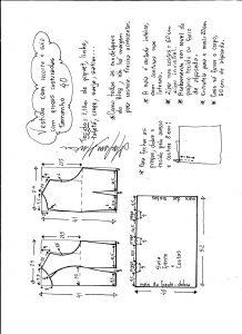 Esquema de modelagem de vestido com recorte e pregas costuradas tamanho 40.