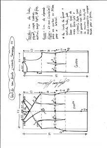 Esquema de modelagem de vestido tubinho com decote cruzado tamanho 44.