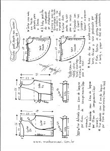 Esquema de modelagem de vestido godê com decote nas costas tamanho 44.