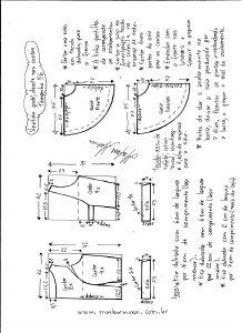 Esquema de modelagem de vestido godê com decote nas costas tamanho 56.