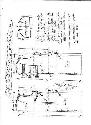 Esquema de modelagem de vestido tubinho com decote nas costas e manga copinho tamanho 38.