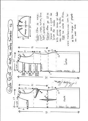 Esquema de modelagem de vestido tubinho com decote nas costas e manga copinho tamanho 46.