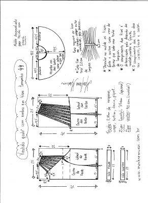 Esquema de modelagem de vestido godê com tiras no ombro tamanho 44.
