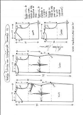 Esquema de modelagem de vestido de festa tubinho com sobreposição tamanho 40.