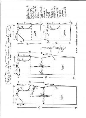 Esquema de modelagem de vestido de festa tubinho com sobreposição tamanho 44.
